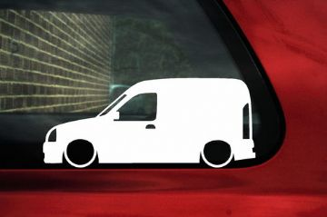 2x LOW Renault Kangoo Van Mk1 (pre-facelift) outline silhouette stickers /Decals